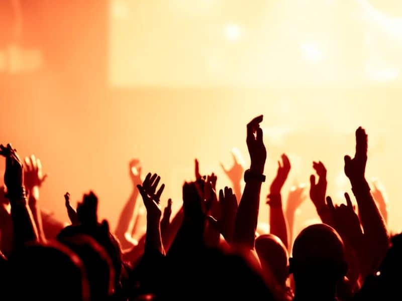 hands in the air at concert