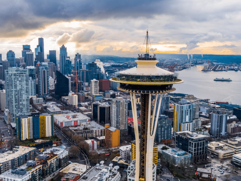 Seattle Space Needle and Elliot Bay